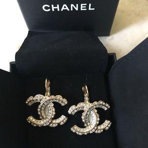 Chanel XL Gold Crystal Earrings